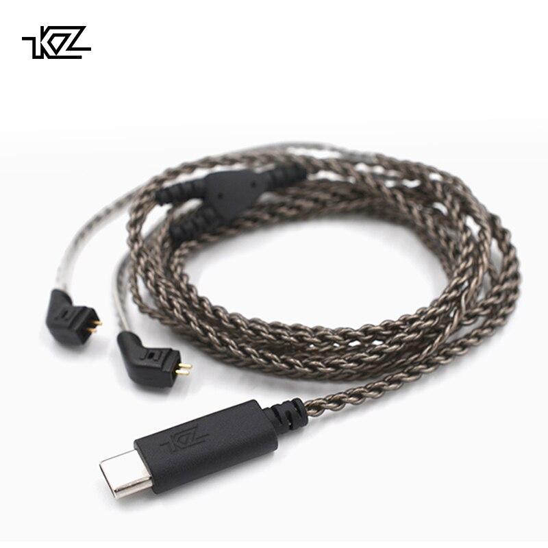 KZ USB tipo C Cable decodificación Digital plateado OFC Cable de actualización 0,75mm conector para KZ auriculares ZST/ ZSR/ED16/ES4/ZS10/ZS6