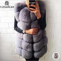 FURSARCAR Chaleco de piel Natural Real para mujeres abrigo de piel de zorro 2019 nueva chaqueta de piel femenina de lujo cálido chaleco largo de piel de invierno