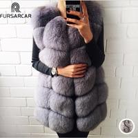 FURSARCAR Real Natural Fur Vest Women Fox Fur Coat 2020 New Luxury Female Fur Jacket Warm Thick Long Winter Fur Vest Waistcoat