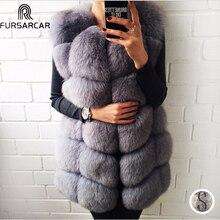 Fursarcar 70センチメートルロング本物のキツネの毛皮のベスト本革コート冬の女性のキツネの毛皮のジャケットの豪華アウターカスタマイズ