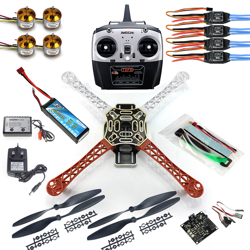 DIY 4 axle RC Multi QuadCopter Drone with KK V2.3 Circuit board 1000KV Motor 30A ESC F450 Frame Kit RadioLink T8FB 8CH TX f02015 f 6 axis foldable rack rc quadcopter kit with kk v2 3 circuit board 1000kv brushless motor 10x4 7 propeller 30a esc