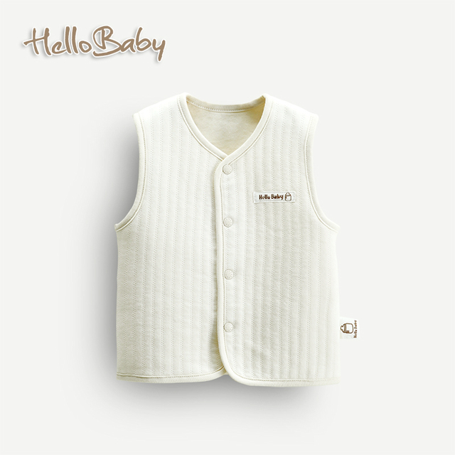 Simple botón lindo del bebé en otoño e invierno chaleco chaleco chaqueta Cómoda y natural de algodón orgánico