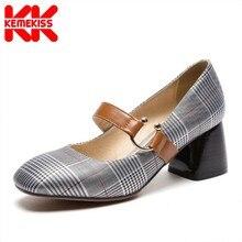 2644eb248 30-47 KemeKiss Tamanho Mulheres Sapatos de Salto Alto Do Vintage Xadrez  Estilo Britânico Calcanhar Grosso Bombas Senhora Do Escr..