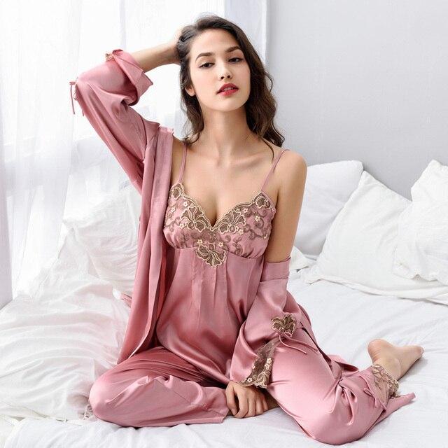 2018 3 조각 여성 섹시한 실크 잠옷 세트 로브 슬링 잠옷 긴 소매 바지 여성 잠옷 고귀한 수 놓은 잠옷