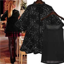 Sexy 2 Pieces Tee Women Lace Half Sleeve T-shirts for Women Tops + Camis Tees Shirt Casual Loose Camisa Mujer Plus Size