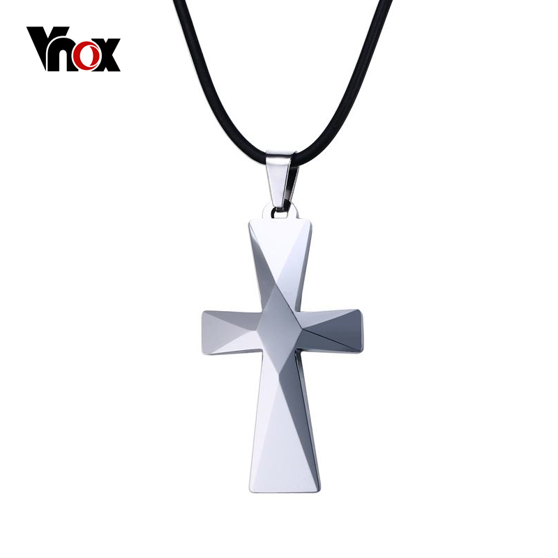 Vnox Cross Mens Necklaces & Pendants High Polished Tungsten Carbide Good Luck Necklace for Men Gift Jewelry