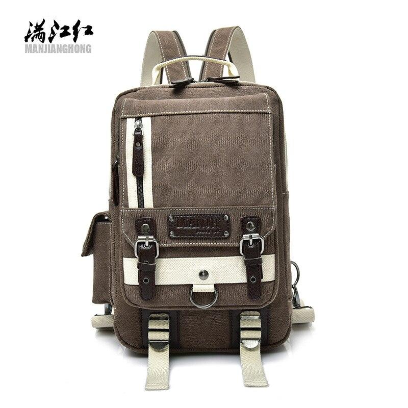 2018 new canvas bag leisure men's chest single-shoulder portable fashion multi-zip men's bags wholesale manufacturers 1