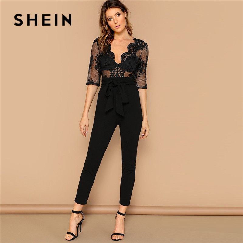 05c68591ac SHEIN Black Sexy Plunging Neck Open Back Embroidered Mesh Bodice Jumpsuit  Summer Women Backless Lace Sheer ...