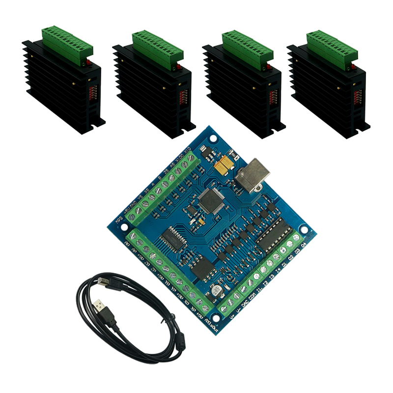 4 Axis MACH3 Motion Controller Card Breakout USB CNC Control Card 4pcs TB6600 Stepper Motor Driver