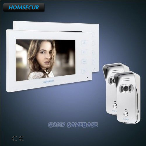 HOMSECUR 7 Video Door Entry Security Intercom with White Monitor and Silver Camera 2C2M