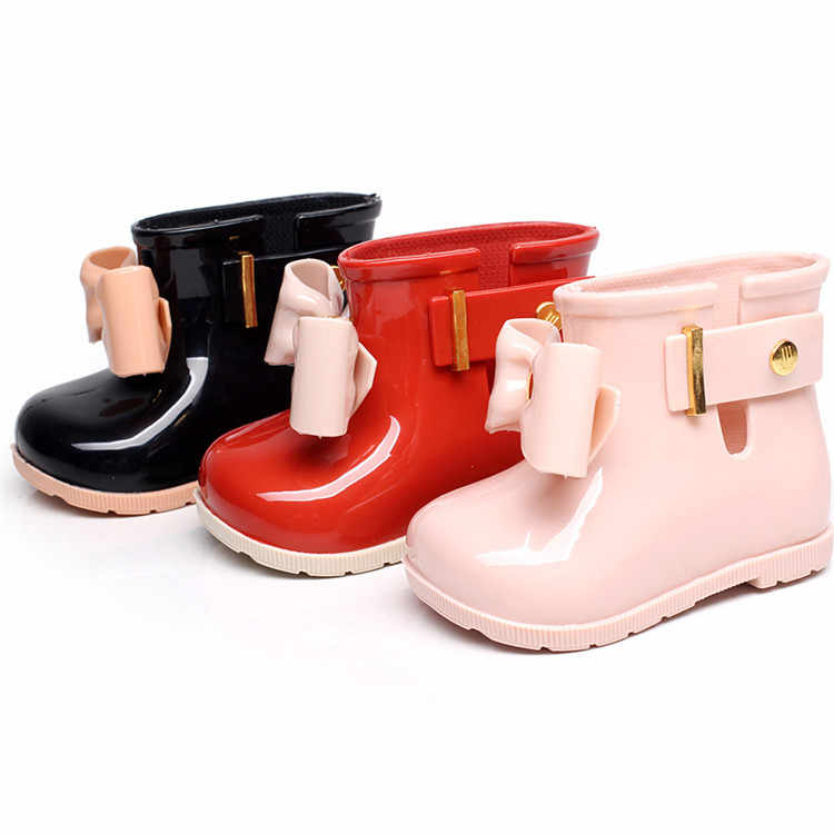 Mini Melissa 2019 Children Jelly Bowktie Rain Boots Non-slip Waterproof Girls  Rain Boots Jelly 3716b50537a3
