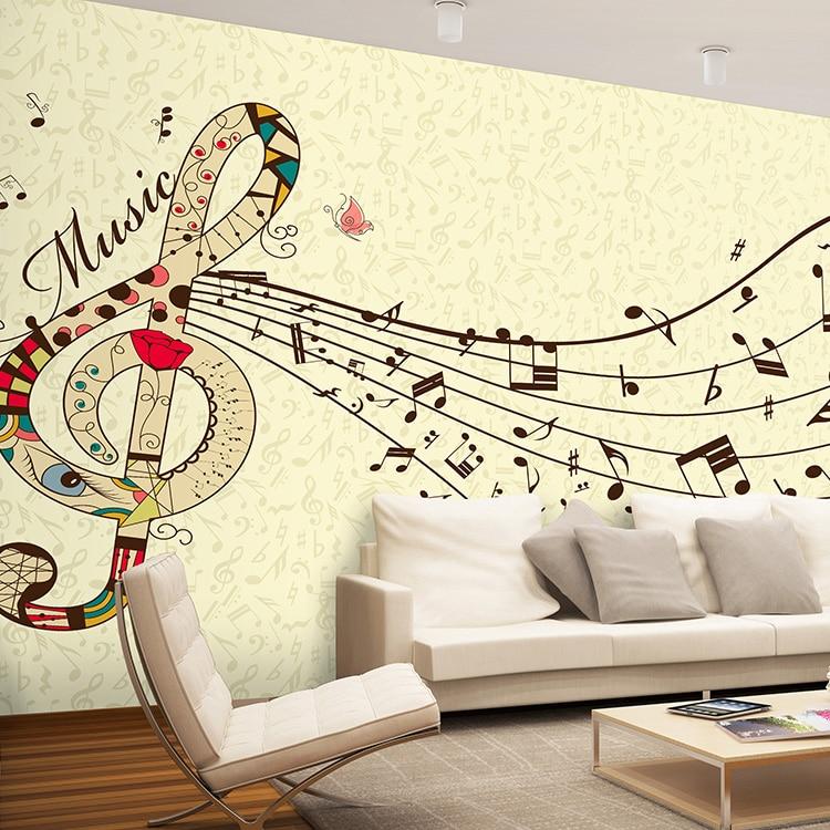 photo wallpaper cartoon music notes mural nursery school music room children 39 s room living room. Black Bedroom Furniture Sets. Home Design Ideas