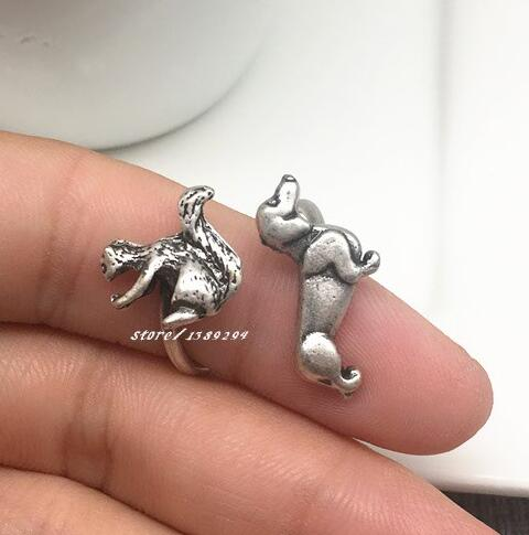 Sausage dog ancient silver ring animal tiny squirrel shape Vintage Ring dachshund For Women lover Gift Jewelry wholesale