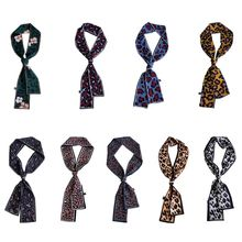 Women Girls Colored Vintage Leopard Floral Printed Scarf Neckerchief Satin Headband Choker Ribbon Straight Dual Side Wrist Band