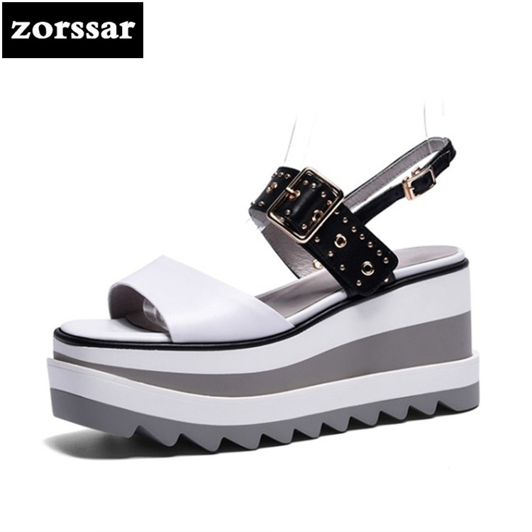 {Zorssar} 2018 Patent leather Wedges Women Sandals Summer Shoes Open Toe platform High heels woman Roman Gladiator Sandals hzxinlive elegant summer sandals women high heel wedges shoes woman round toe roman sandals ladies footwear female casual shoes
