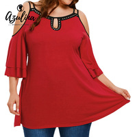 AZULINA Plus Size Rivet Flare Sleeve Cold Shoulder Blouse Women Casual Loose Red Blouses Shirts Blusas