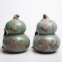 Embossed Lotus Flower Ceramic Tea Pot Exquisite Chinese Style Tea Can Two Layers Sealed Storage Jars Home Office Decor