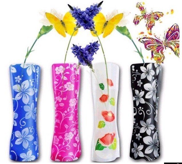 wholesale eco-friendly special toys Foldable folding flower PVC Durable Vase Home Wedding Party easy to store