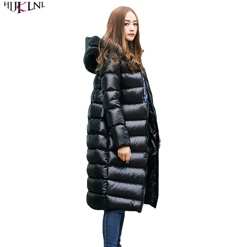 2019 New Women Winter   Down   Jacket Long Loose Jacket Thicken Hooded Duck   Down     Coat   Black Outer Casual Simple Warm Outwear AC158