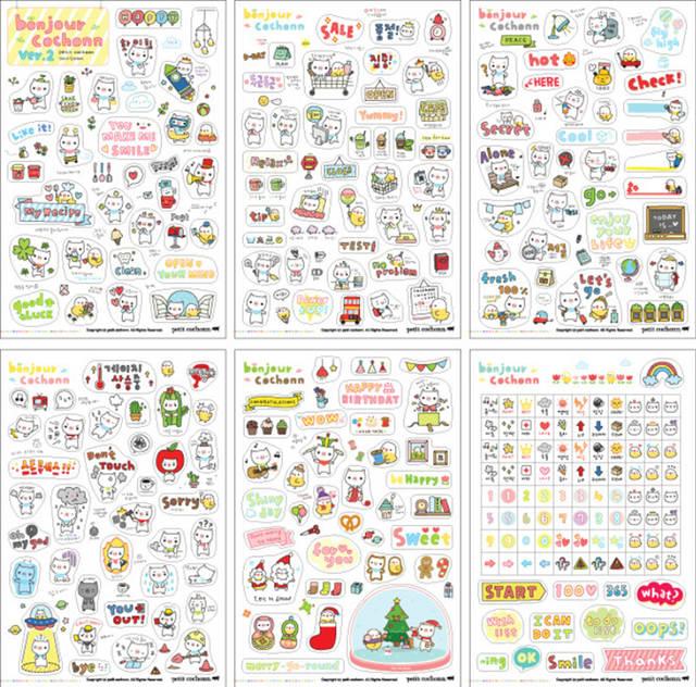 Calendario Per Appunti.Eshylala 6 Sheets Autoadesivo Diy Planner Calendario Libro Carino Diario Sticker Paper Craft Blocchetti Per Appunti Scrapbook Decorazione Wall Sticker