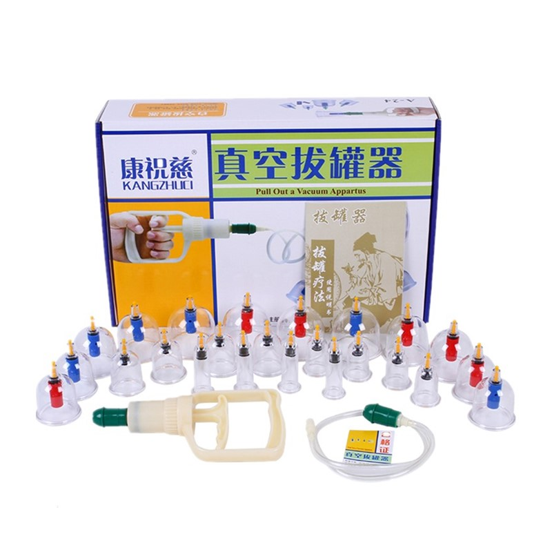 24 Pieces Cans Vacuum Cupping Set Thicker Magnetic Aspirating Cupping cups Acupuncture Massage Suction Cup Chinese Massage Kit hot cups vacuum cupping set massage cans
