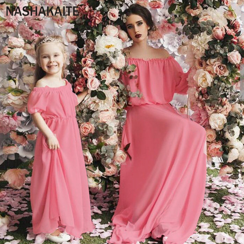Mother daughter dresses Ciffion Puff Sleeve Three Quarter Off Shoulder vestido long Mommy and me clothes mama and daughter dress ...