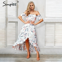 Simplee Elegant Off Shoulder Boho Maxi Dress Asymmetrical Ruffle Beach Floral Dress Sexy Summer Long Dress