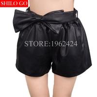 Autumn winter fashion new women high quality Sheepskin high waist elastic bow belt short paragraph boots pants leather pant