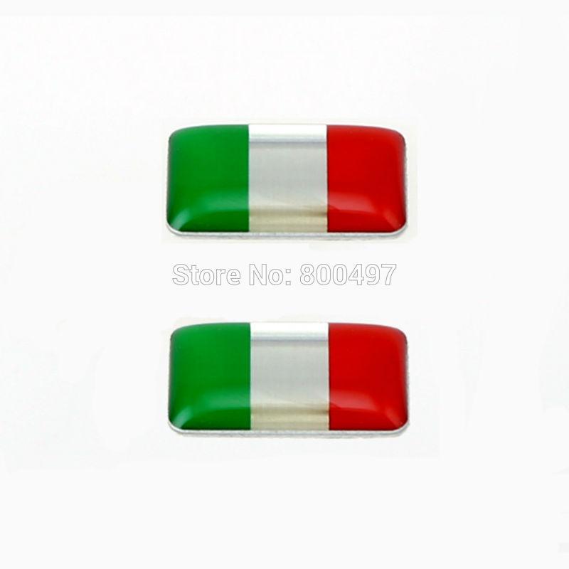 2 x Uusin 3D-muotoiltu alumiiniliimatarra Ca-metallitarra alumiinista räätälöityä moottoritarraa Italian lipulle