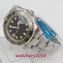 купить Free Shipping 40mm classic black dial Bliger luminous makrs Automatic movement Mechanical Watches GMT Sapphire mens watch по цене 5617.57 рублей