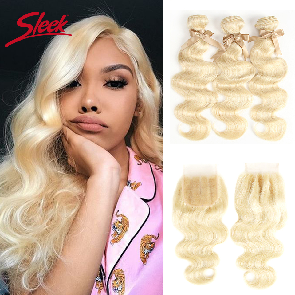 Sleek Peruvian Body Wave Human Hair Bundles With Closure 613 Blonde Bundles With Closure 3 Bundles