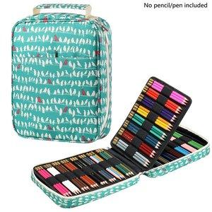 Image 1 - Kawaii 150 слотов футляр для карандашей 4 слоя на молнии сумка с принтом большой емкости для хранения пенал школьные принадлежности