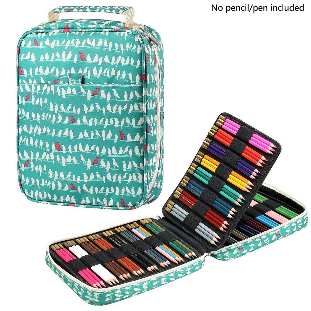 Kawaii 150 Slots Pencil Case Holder 4 Layers Zipper Bag Printed Large Capacity Storage Pencil Box Pencilcase School Supplies kicute new 120 slots large capacity oxford canvas 4 layers school pencil case pencil bag art marker pen holder school supplies