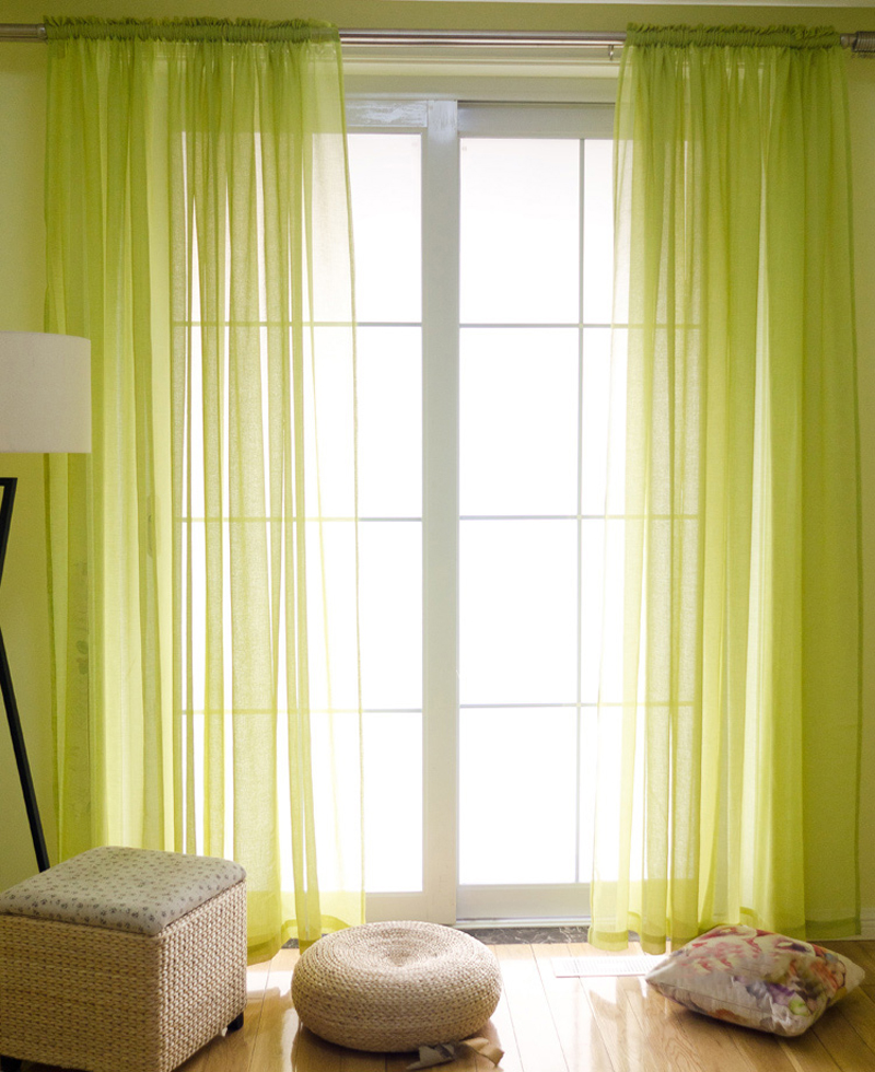 american style imitation linen gauze curtains solid color pinch pleated sheer curtain window tulle living room