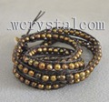 4 Strand Genuine Natural Brown Round Freshwater Cultured Pearls Wrap Bracelet 28""