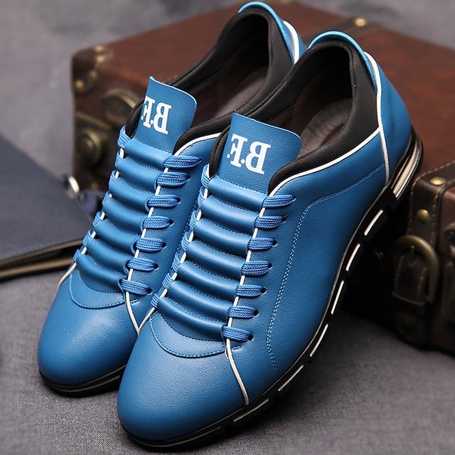 Casual scarpe da uomo solido di cuoio più il formato 37-48 uomo  primavera autunno scarpe superstar uomini scarpe da ginnastica lace- up scarpe  basse 8d6d24d9162