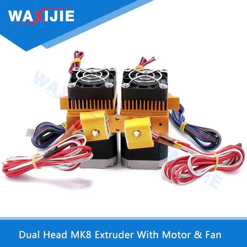 Double Tête MK8 Extrudeuse Kit Double Hotend J-tête D'extrusion 0.4mm Buse 1.75mm Filament 3D Imprimantes Pièces avec Moteur et Pièces De Ventilateurs