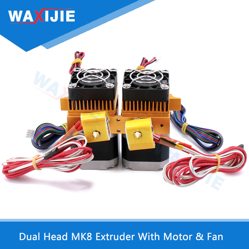 Dual Head MK8 Extruder Kit Double Hotend J-head Extrusion 0.4mm Nozzle 1.75mm Filament 3D Printers Parts With Motor & Fan Parts недорго, оригинальная цена