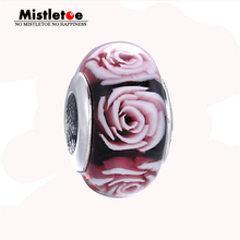 Genuine Original 925 Sterling Silver 3D Flowers Rose Murano Glass Charm Bead Fits European Bracelet Necklace Jewelry