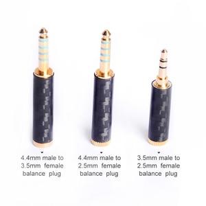 Image 5 - OKCSC Earphone Plug 4.4mm/3.5mm/2.5mm Male Adapter to 2.5mm/3.5mm Female Balanced Carbon Fiber Headphone DIY Accessory for SONY