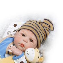 "23 ""57cm NPKDOLL Full Body Silicone Reborn Baby Boy Doll Bebe Alla Vinyl Dolls Cameron Awake Reborn Children Bath Doll Toys Presenter"