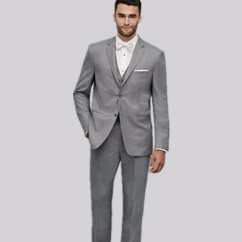 11.1New Arrival Two Buttons Grey Groom Tuxedos Groomsmen Men\'s Wedding Prom Suits Custom Made (Jacket+Pants+Vest)