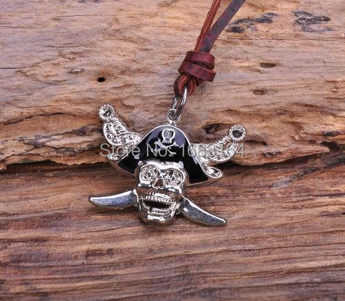 N188 Caribbean Pirates Skull Pendant Charm Surfer Leather Choker Necklace Mens