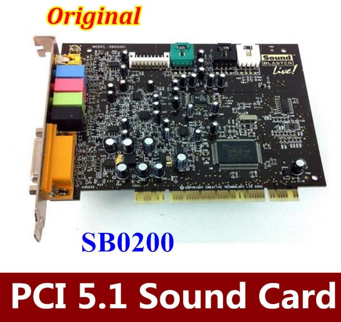 3PCS/LOT Free shipping   For Creative SoundBLASTER LIVE 5.1 Surround PCI Sound Card SB0200