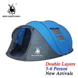HUI LINGYANG tiro pop up tienda 5-6 personas al aire libre tiendas automáticas doble capas Gran Tienda Familiar impermeable camping tienda de campaña