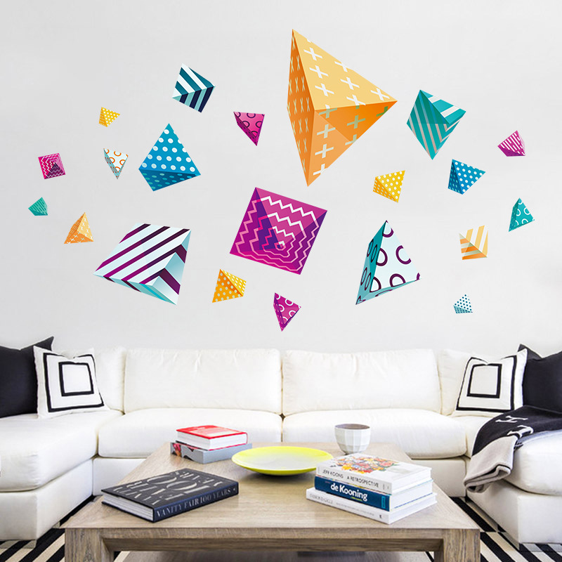 Modern geometric wall stickers home decoration triangle diamond pattern living room vinyl mirror stickers DIY office glass decor