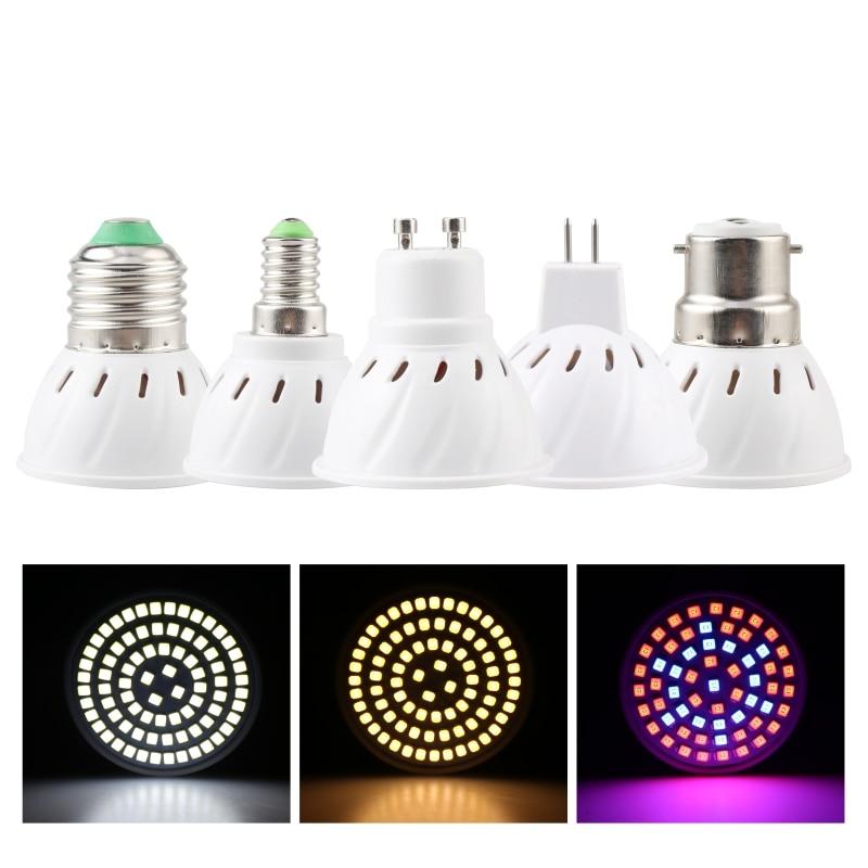 LED Lampada Grow Light E27 E14 MR16 GU10 B22 220V Full Spectrum Plant Lamp 48 60 80LEDs Cold White/Warm White Led Spotlight Bulb