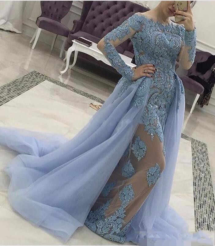 c8bbebcd64178 Blue Muslim Evening Dresses 2019 Mermaid Long Sleeves Detachable ...