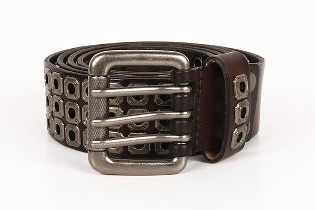Top luxury designer work men's rivet punk belt Top layer leather men's and women's rock hip hop belt waist pin buckle belt