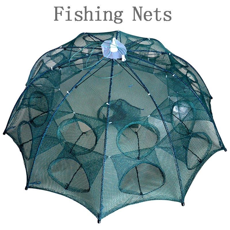 Date 4-20 Trous Automatique Pliant Pêche Filet à Crevettes Cage En Nylon Pliable Crab Fish Trap Cast Net Fonte Pliage de pêche Réseau